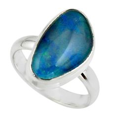 6.15cts natural blue australian opal triplet 925 silver ring size 8 r44917