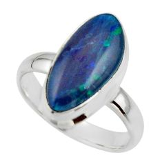5.75cts natural blue australian opal triplet 925 silver ring size 8 r44919
