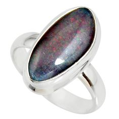 6.02cts natural blue australian opal triplet silver solitaire ring size 7 r34135