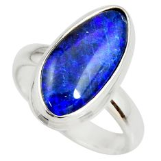 6.10cts natural blue australian opal triplet silver solitaire ring size 7 r34262