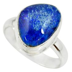6.28cts natural blue australian opal triplet silver solitaire ring size 8 r34136