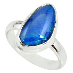 6.28cts natural blue australian opal triplet silver solitaire ring size 9 r34128