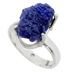 7.78cts natural blue azurite druzy 925 silver solitaire ring size 8.5 r30012