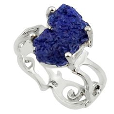 5.82cts natural blue azurite druzy 925 silver solitaire ring size 7 r30008