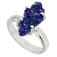 5.63cts natural blue azurite druzy 925 silver solitaire ring size 7 r30010
