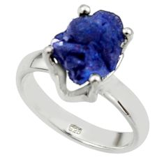 5.87cts natural blue azurite druzy 925 silver solitaire ring size 7 r30014