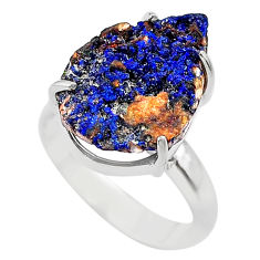 10.31cts natural blue azurite druzy 925 silver solitaire ring size 7 t29542
