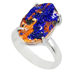 8.44cts natural blue azurite druzy 925 silver solitaire ring size 7 t29543