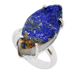 16.03cts natural blue azurite druzy 925 silver solitaire ring size 7 t29576