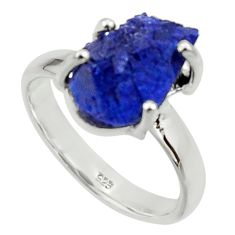 6.31cts natural blue azurite druzy 925 silver solitaire ring size 8 r30006