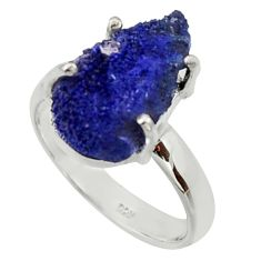 7.38cts natural blue azurite druzy 925 silver solitaire ring size 8 r30007