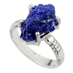 7.03cts natural blue azurite druzy 925 silver solitaire ring size 8 r30011