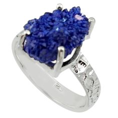 7.12cts natural blue azurite druzy 925 silver solitaire ring size 8 r30015