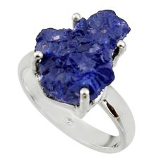 7.40cts natural blue azurite druzy 925 silver solitaire ring size 8 r30016