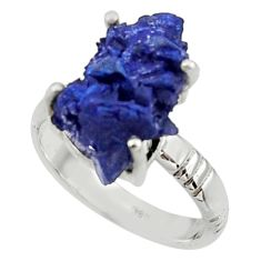 7.51cts natural blue azurite druzy 925 silver solitaire ring size 8 r30018