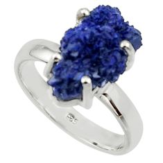 6.58cts natural blue azurite druzy fancy 925 silver solitaire ring size 8 r30020