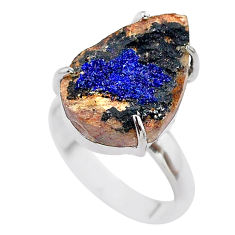 10.78cts natural blue azurite druzy pear 925 silver solitaire ring size 7 t29573