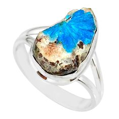 7.49cts natural blue cavansite 925 silver solitaire ring jewelry size 8.5 r86123