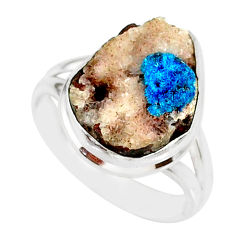8.91cts natural blue cavansite 925 silver solitaire ring jewelry size 7.5 r86125