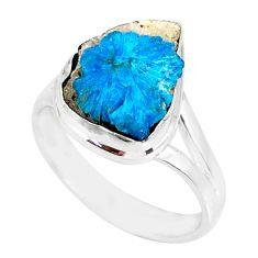 7.29cts natural blue cavansite 925 silver solitaire ring jewelry size 8.5 r86147