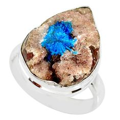 13.70cts natural blue cavansite 925 silver solitaire ring jewelry size 7 r86137