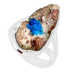 11.55cts natural blue cavansite 925 silver solitaire ring jewelry size 7 r86142