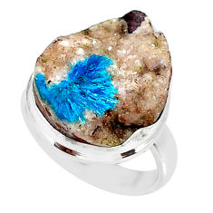 15.08cts natural blue cavansite 925 silver solitaire ring jewelry size 7 r86143
