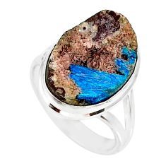10.76cts natural blue cavansite 925 silver solitaire ring jewelry size 7 r86153