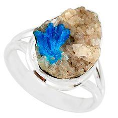 8.84cts natural blue cavansite 925 silver solitaire ring jewelry size 8 r86129