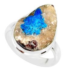 14.23cts natural blue cavansite 925 silver solitaire ring jewelry size 8 r86136