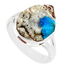 10.31cts natural blue cavansite 925 silver solitaire ring jewelry size 8 r86139