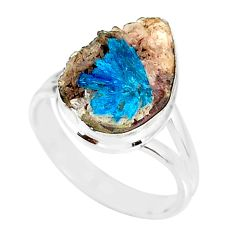 7.50cts natural blue cavansite 925 silver solitaire ring jewelry size 8 r86152