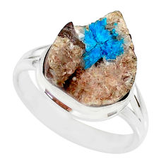 8.80cts natural blue cavansite 925 silver solitaire ring jewelry size 9 r86134