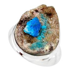 14.72cts natural blue cavansite 925 silver solitaire ring size 6.5 r86120
