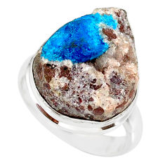 14.40cts natural blue cavansite 925 silver solitaire ring size 7.5 r86122