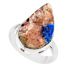 14.72cts natural blue cavansite 925 silver solitaire ring size 8.5 r86128