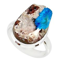 16.20cts natural blue cavansite 925 silver solitaire ring size 7.5 r86133
