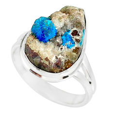 12.06cts natural blue cavansite 925 silver solitaire ring size 8.5 r86141