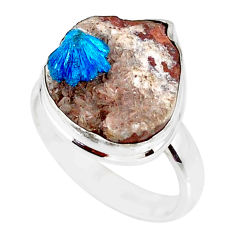 11.23cts natural blue cavansite 925 silver solitaire ring size 8.5 r86145