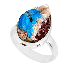 14.65cts natural blue cavansite 925 silver solitaire ring size 8.5 r86149