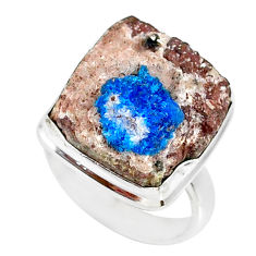 15.97cts natural blue cavansite 925 silver solitaire ring size 6.5 r86151