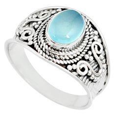 1.96cts natural blue chalcedony 925 silver solitaire handmade ring size 8 r81489