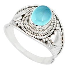 2.19cts natural blue chalcedony 925 silver solitaire ring size 6.5 r81485