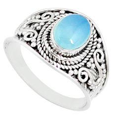 2.33cts natural blue chalcedony 925 silver solitaire ring size 7.5 r81486