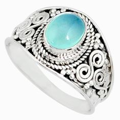 2.14cts natural blue chalcedony 925 silver solitaire ring size 8.5 r81488