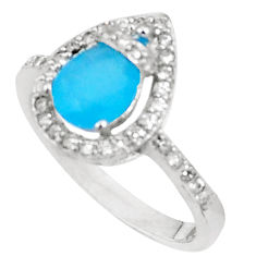 3.42cts natural blue chalcedony topaz 925 silver ring size 7 a94557 c24884