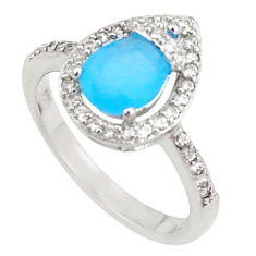 3.59cts natural blue chalcedony topaz sterling silver ring size 7 a94542 c24885
