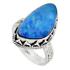 6.74cts natural blue doublet opal australian 925 silver ring size 8.5 r19649