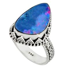 6.48cts natural blue doublet opal australian 925 silver ring size 8.5 r19650