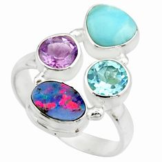6.31cts natural blue doublet opal australian 925 silver ring size 8.5 r22263